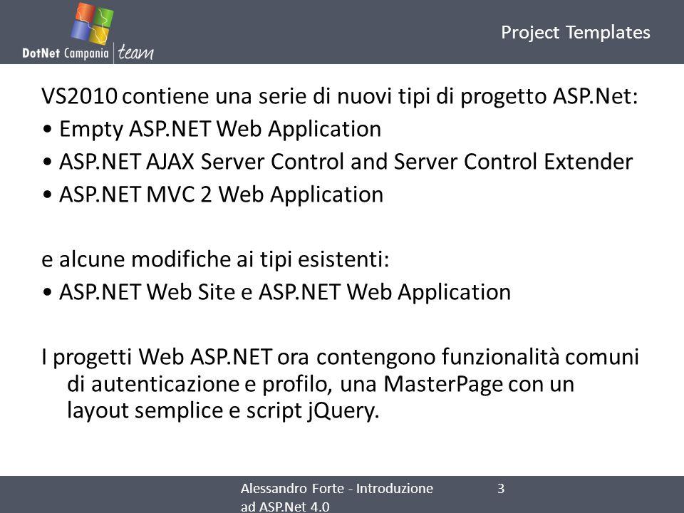 VS2010 contiene una serie di nuovi tipi di progetto ASP.Net: