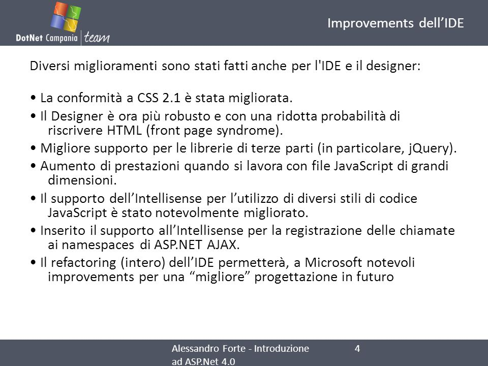 Improvements dell'IDE