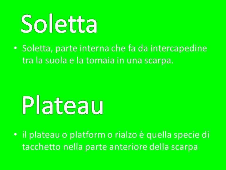 Soletta Soletta, parte interna che fa da intercapedine tra la suola e la tomaia in una scarpa.