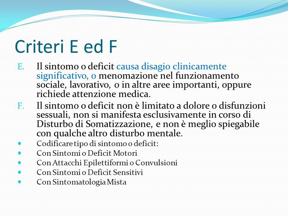 Criteri E ed F