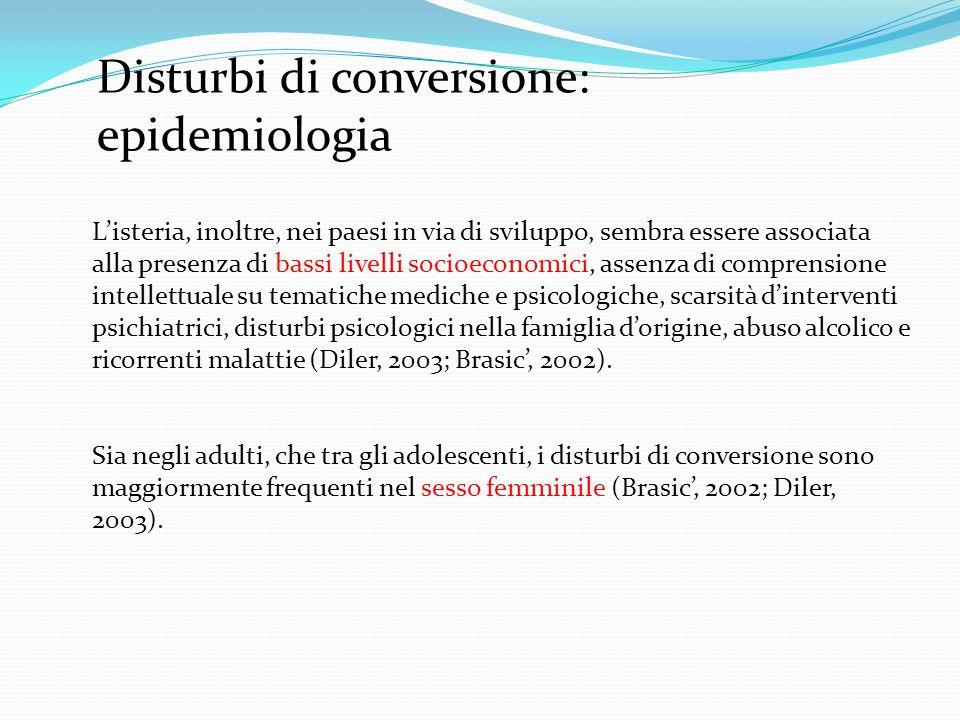 Disturbi di conversione: epidemiologia