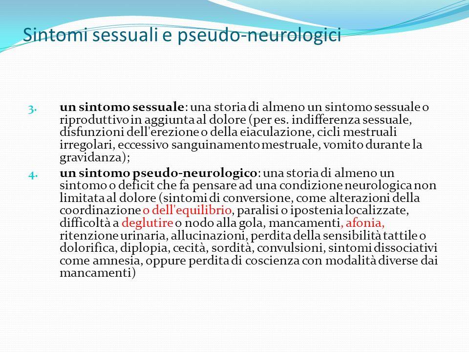 Sintomi sessuali e pseudo-neurologici
