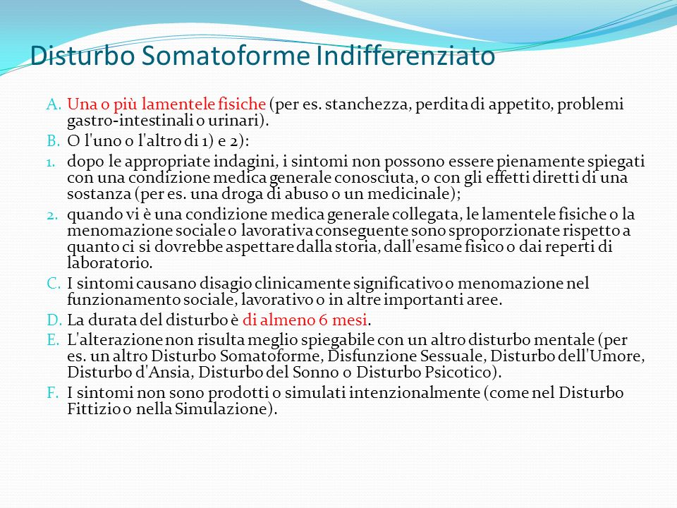 Disturbo Somatoforme Indifferenziato