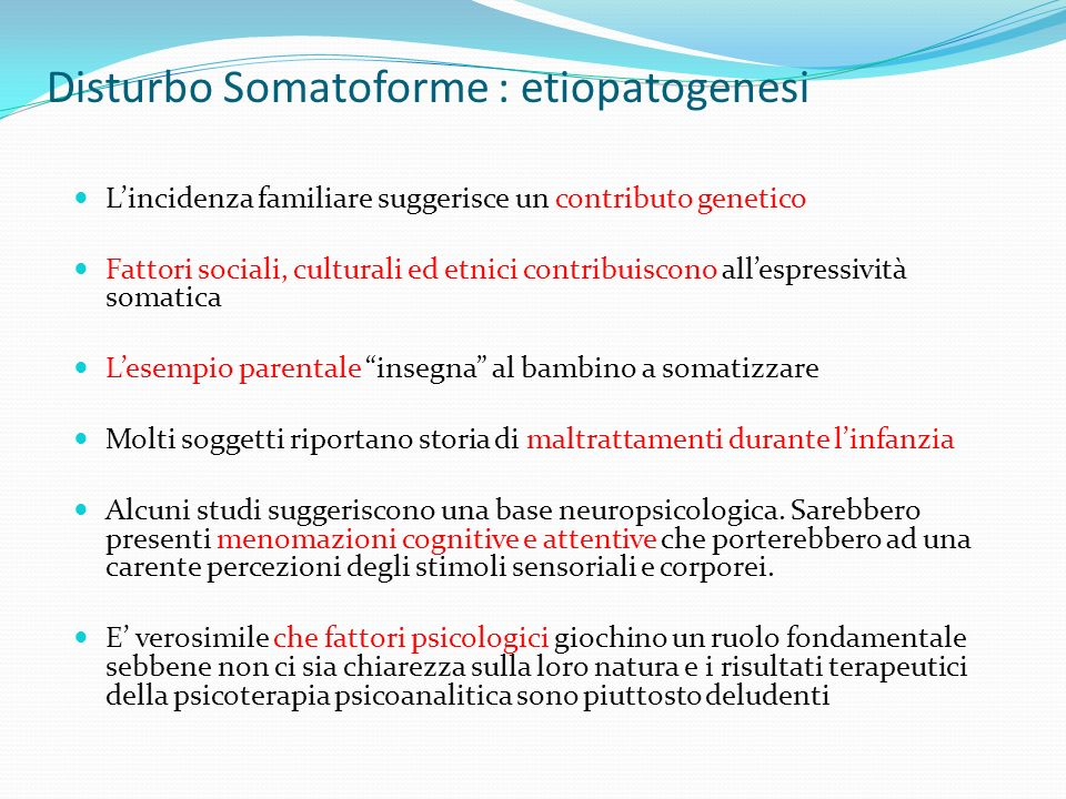 Disturbo Somatoforme : etiopatogenesi
