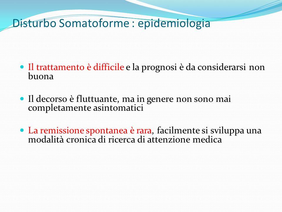 Disturbo Somatoforme : epidemiologia
