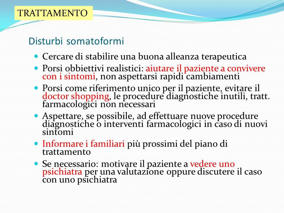Disturbi somatoformi TRATTAMENTO