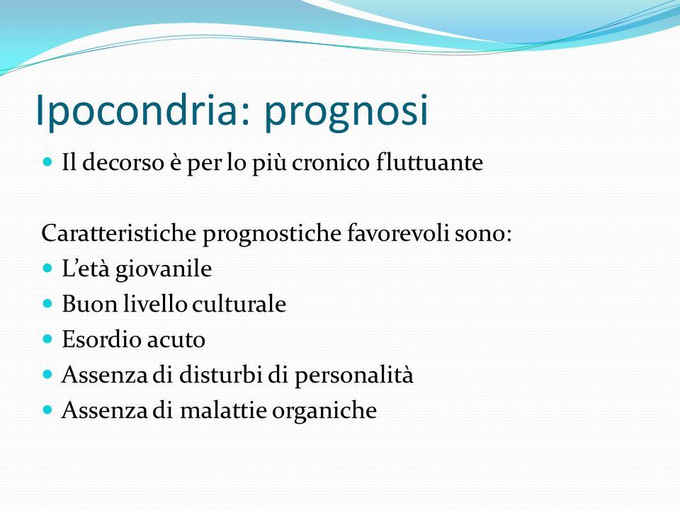 Ipocondria: prognosi Il decorso è per lo più cronico fluttuante