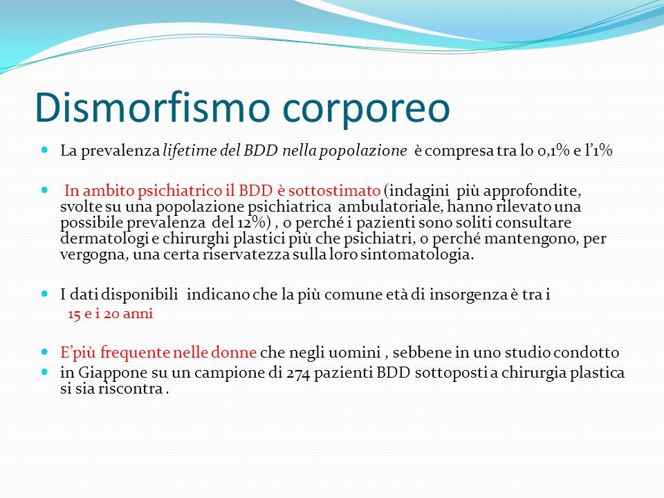Dismorfismo corporeo La prevalenza lifetime del BDD nella popolazione è compresa tra lo 0,1% e l'1%