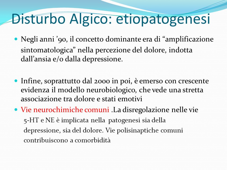 Disturbo Algico: etiopatogenesi