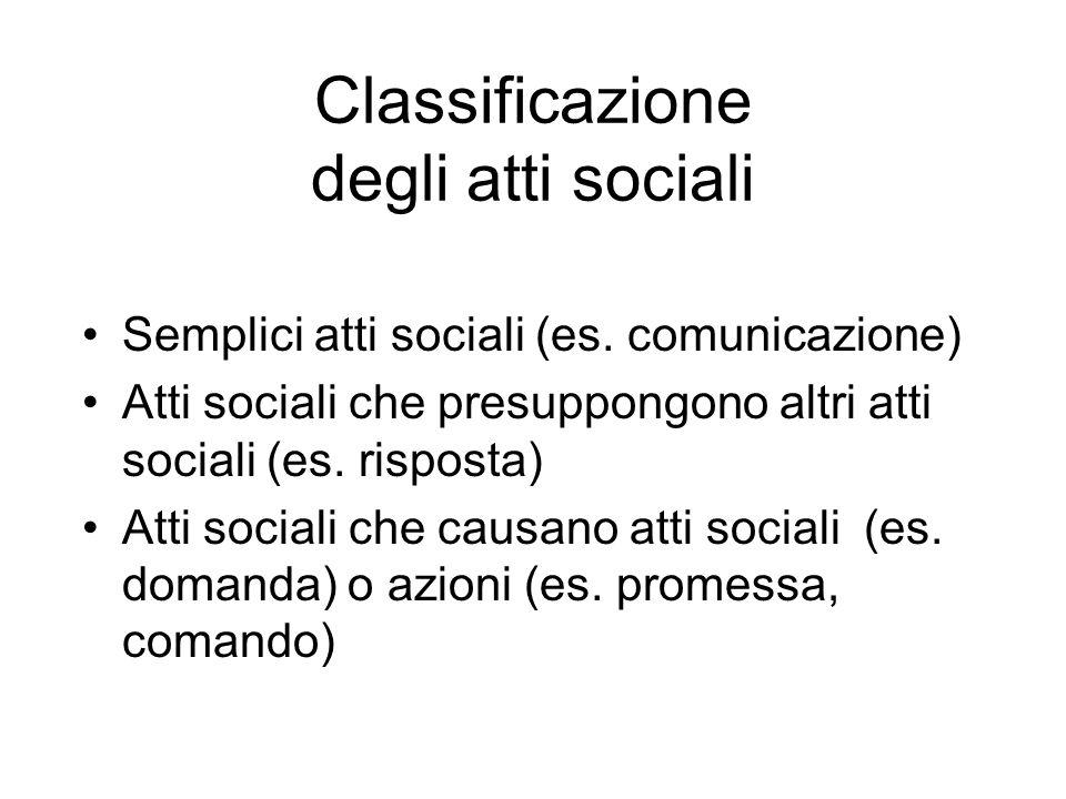 Classificazione degli atti sociali