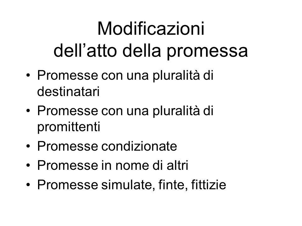 Modificazioni dell'atto della promessa