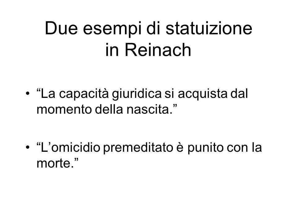 Due esempi di statuizione in Reinach
