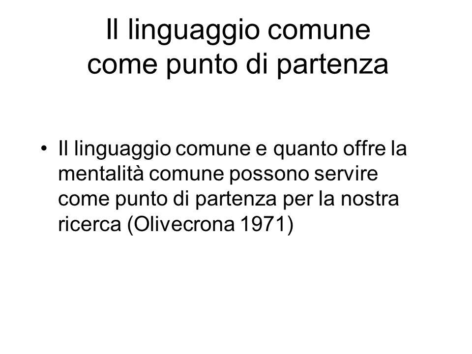 Il linguaggio comune come punto di partenza