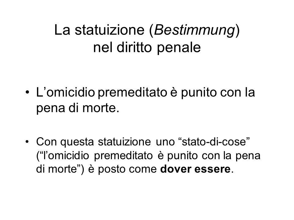 La statuizione (Bestimmung) nel diritto penale