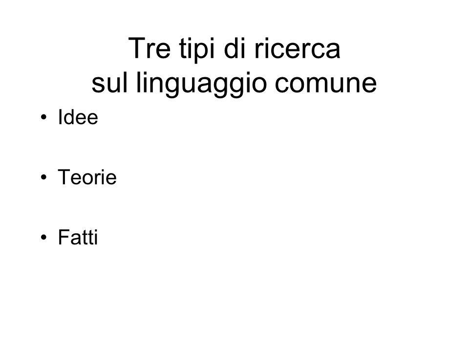 Tre tipi di ricerca sul linguaggio comune