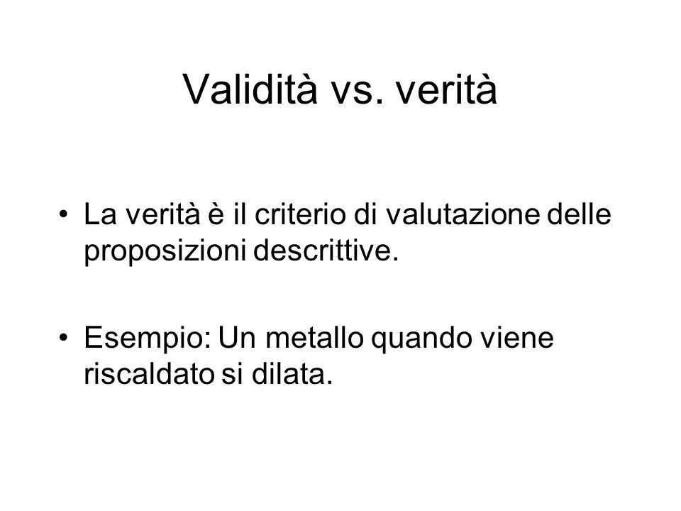 Validità vs. verità La verità è il criterio di valutazione delle proposizioni descrittive.