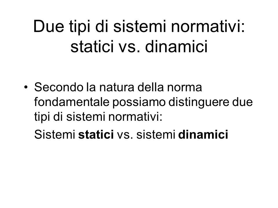 Due tipi di sistemi normativi: statici vs. dinamici