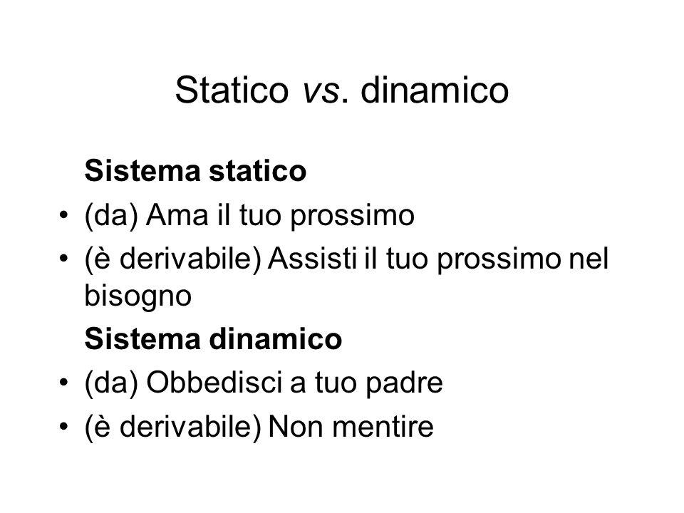 Statico vs. dinamico Sistema statico (da) Ama il tuo prossimo