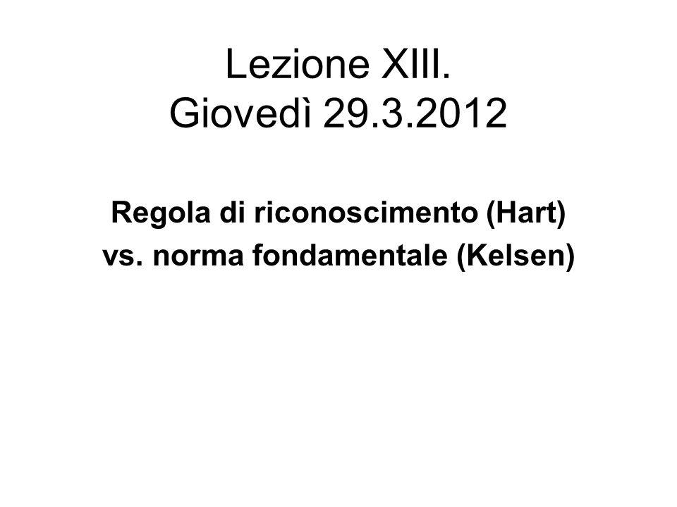 Regola di riconoscimento (Hart) vs. norma fondamentale (Kelsen)