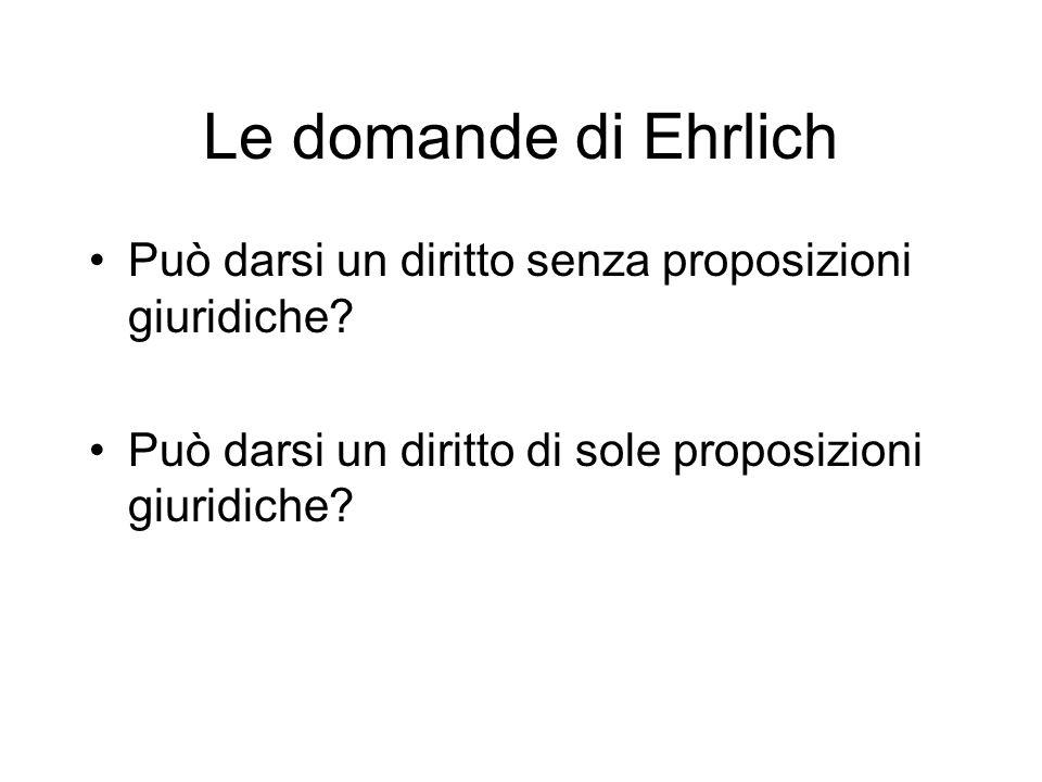 Le domande di Ehrlich Può darsi un diritto senza proposizioni giuridiche.
