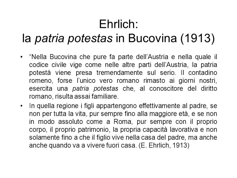 Ehrlich: la patria potestas in Bucovina (1913)