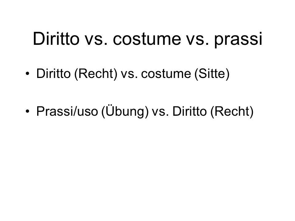 Diritto vs. costume vs. prassi
