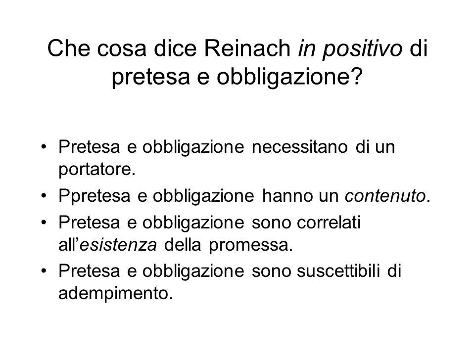 Che cosa dice Reinach in positivo di pretesa e obbligazione
