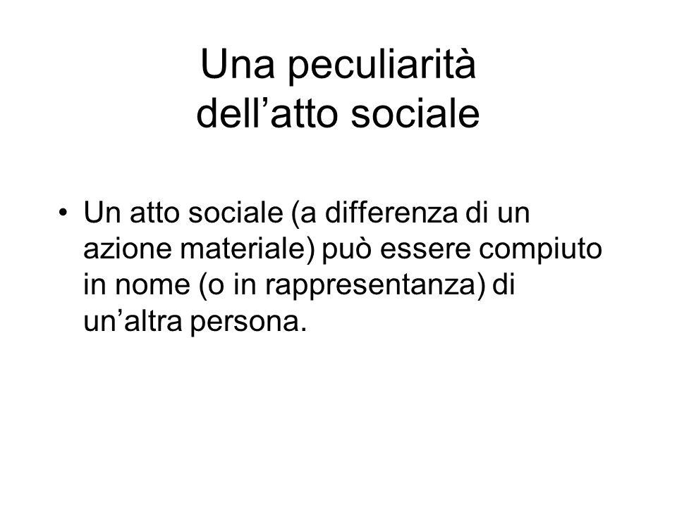Una peculiarità dell'atto sociale