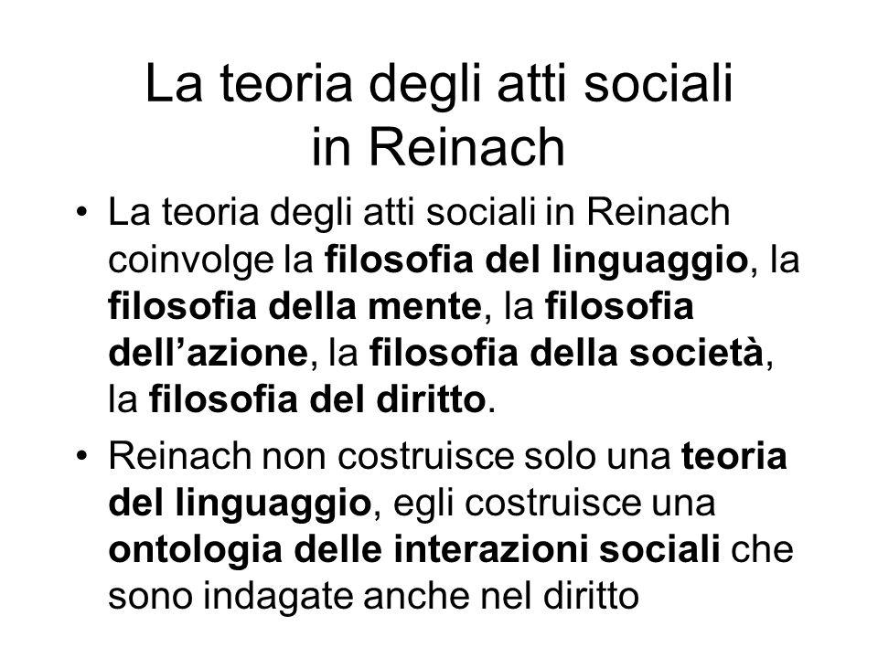 La teoria degli atti sociali in Reinach