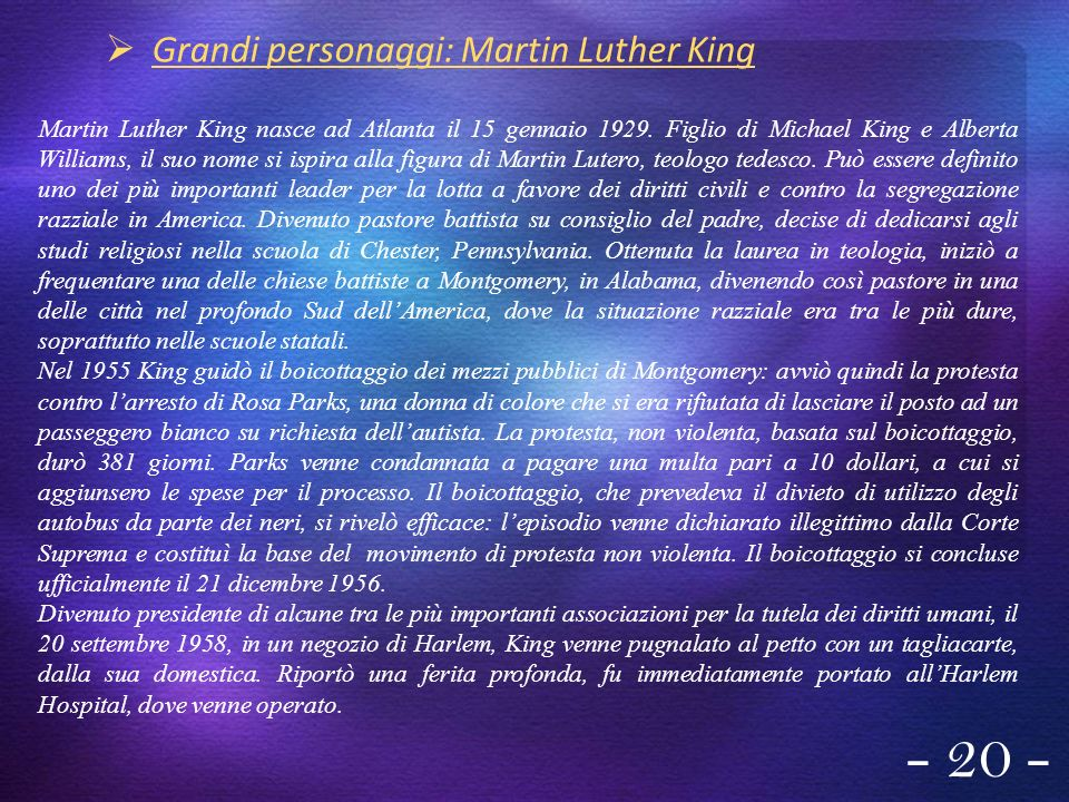 - 20 - Grandi personaggi: Martin Luther King