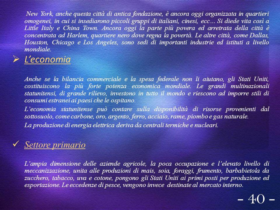 - 40 - L'economia Settore primario