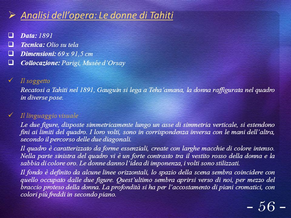 - 56 - Analisi dell'opera: Le donne di Tahiti Data: 1891