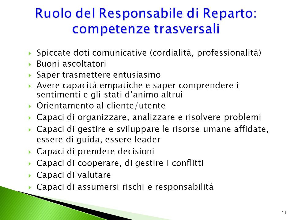 Ruolo del Responsabile di Reparto: competenze trasversali