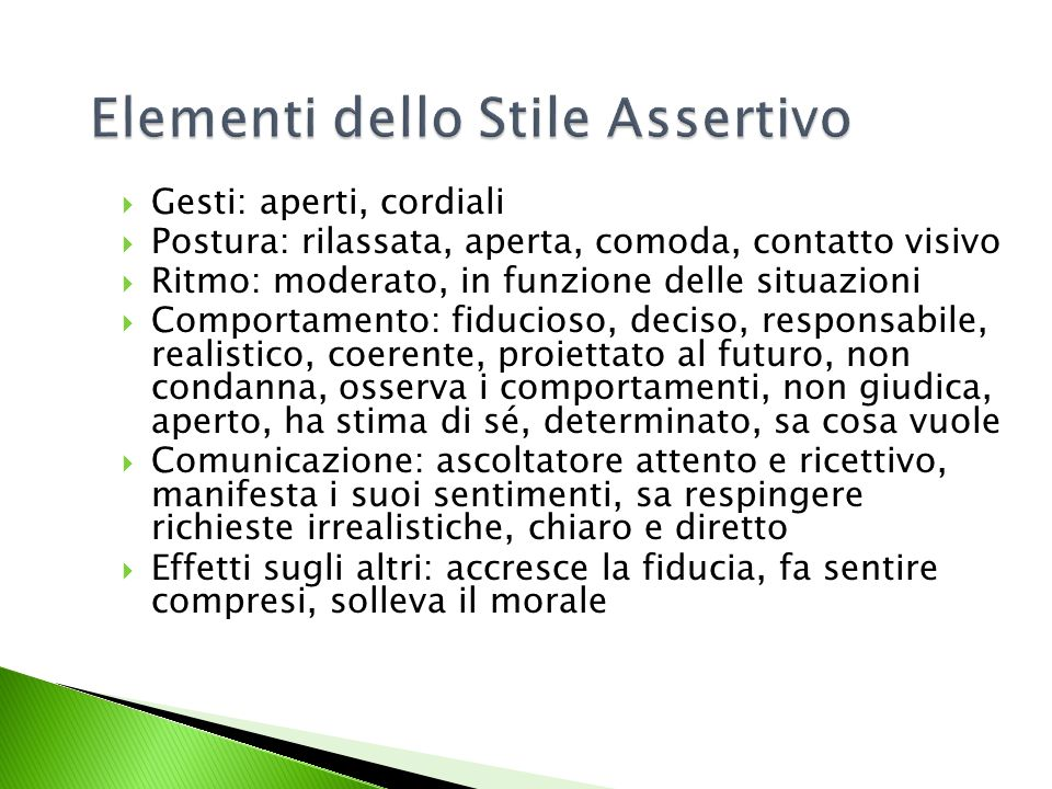 Elementi dello Stile Assertivo