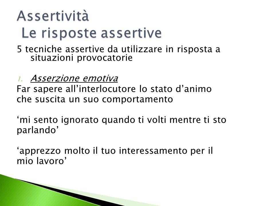 Assertività Le risposte assertive