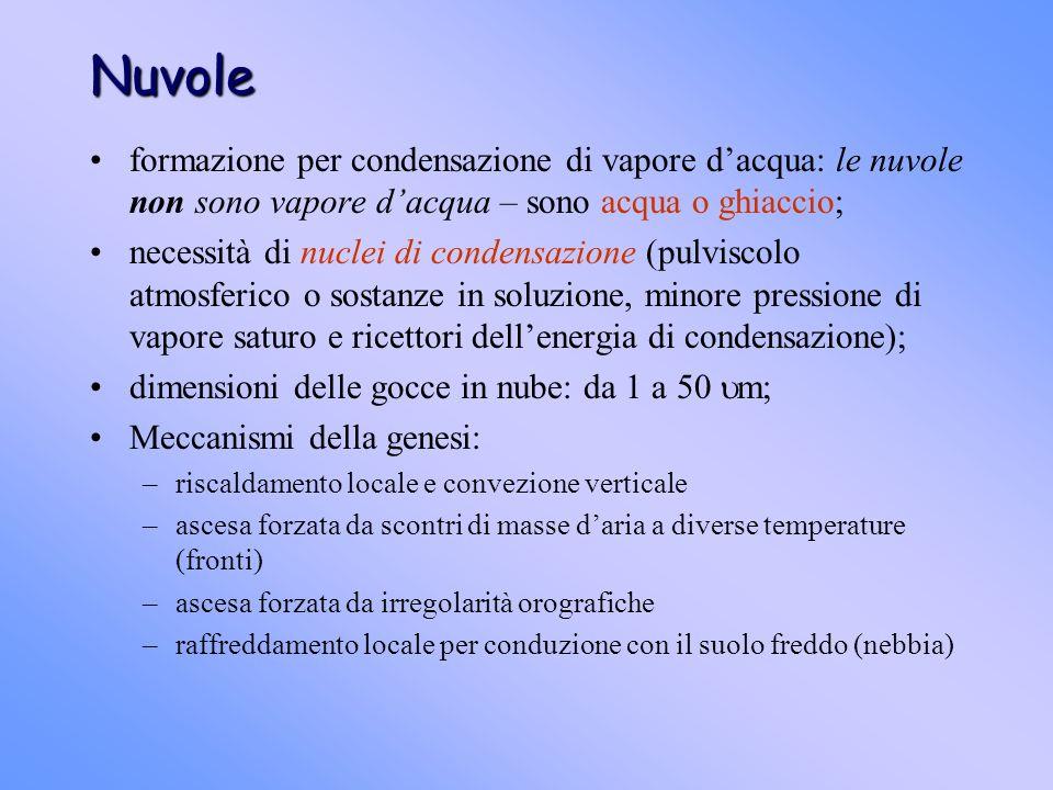 Nuvole formazione per condensazione di vapore d'acqua: le nuvole non sono vapore d'acqua – sono acqua o ghiaccio;