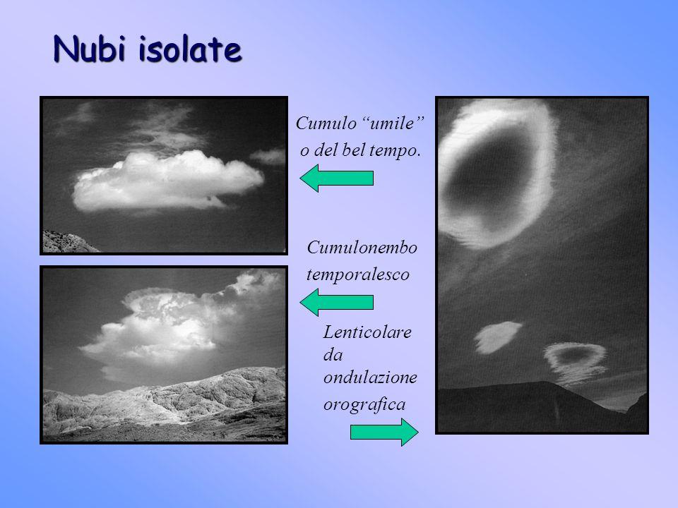 Nubi isolate Cumulo umile o del bel tempo. Cumulonembo temporalesco