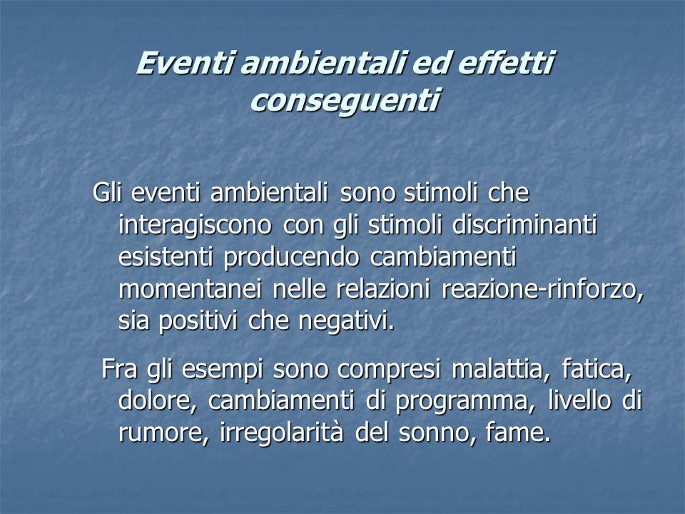 Eventi ambientali ed effetti conseguenti