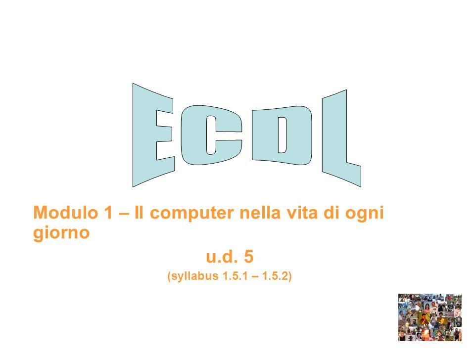 ECDL Modulo 1 – Il computer nella vita di ogni giorno u.d. 5