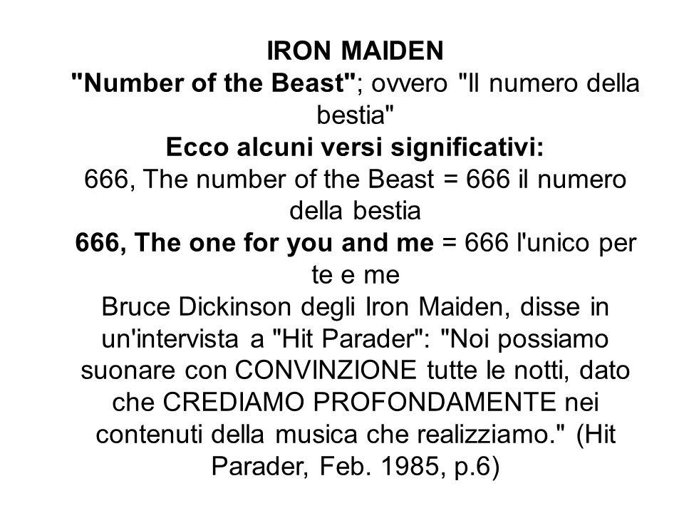 IRON MAIDEN Number of the Beast ; ovvero Il numero della bestia