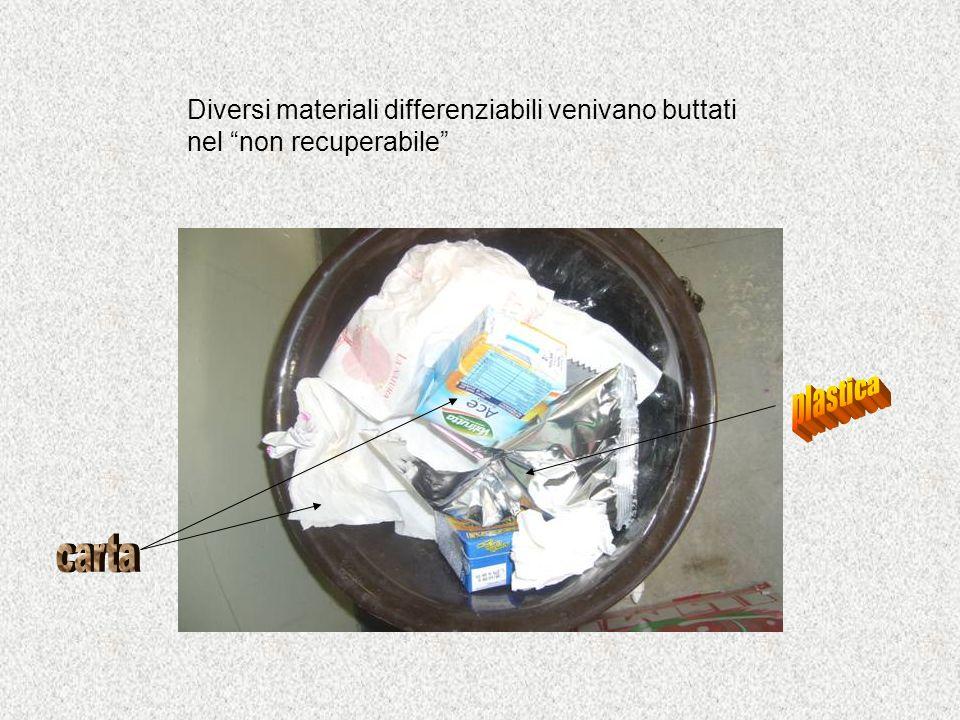Diversi materiali differenziabili venivano buttati nel non recuperabile