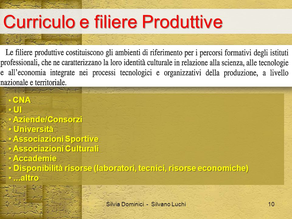Curriculo e filiere Produttive