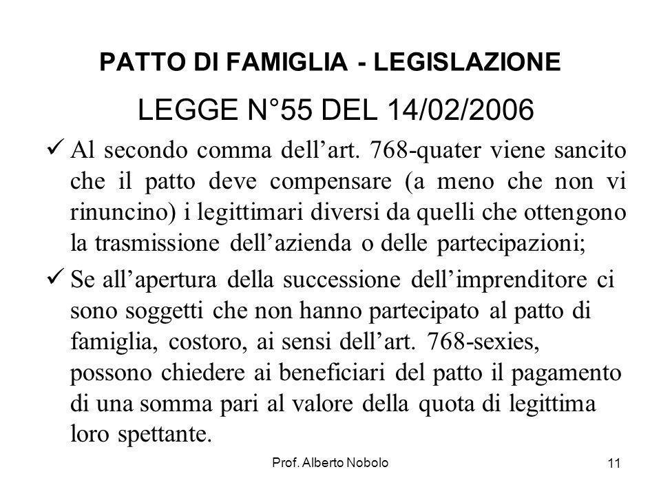 PATTO DI FAMIGLIA - LEGISLAZIONE