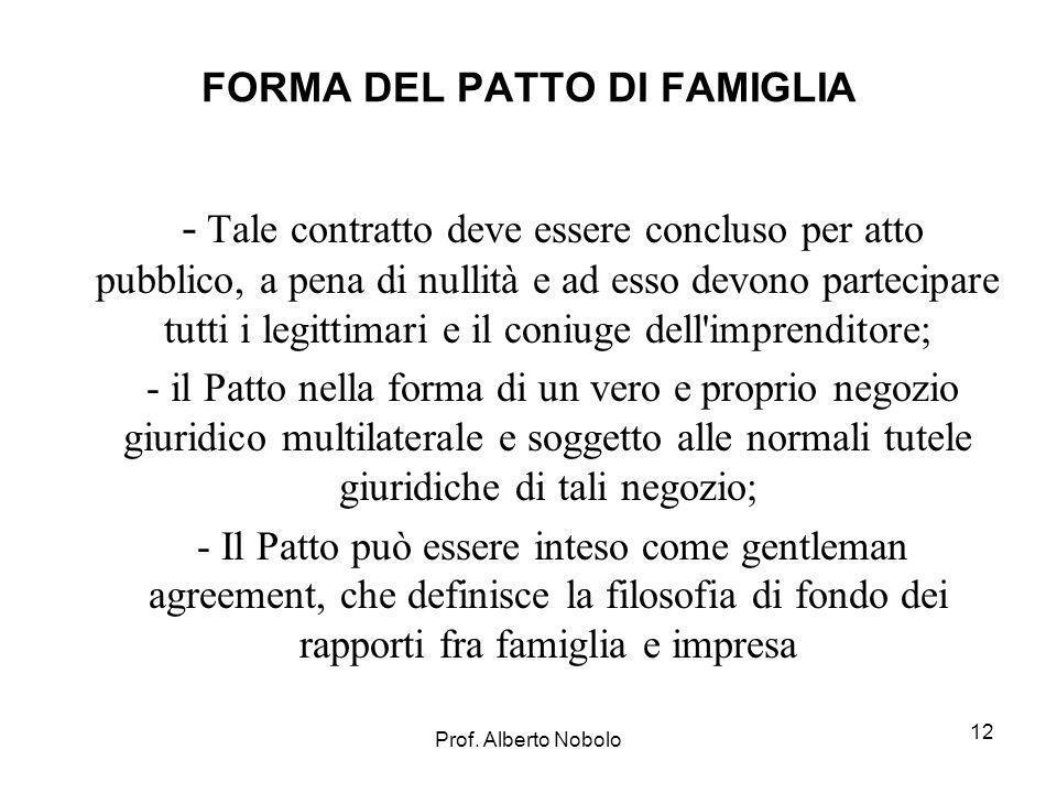 FORMA DEL PATTO DI FAMIGLIA