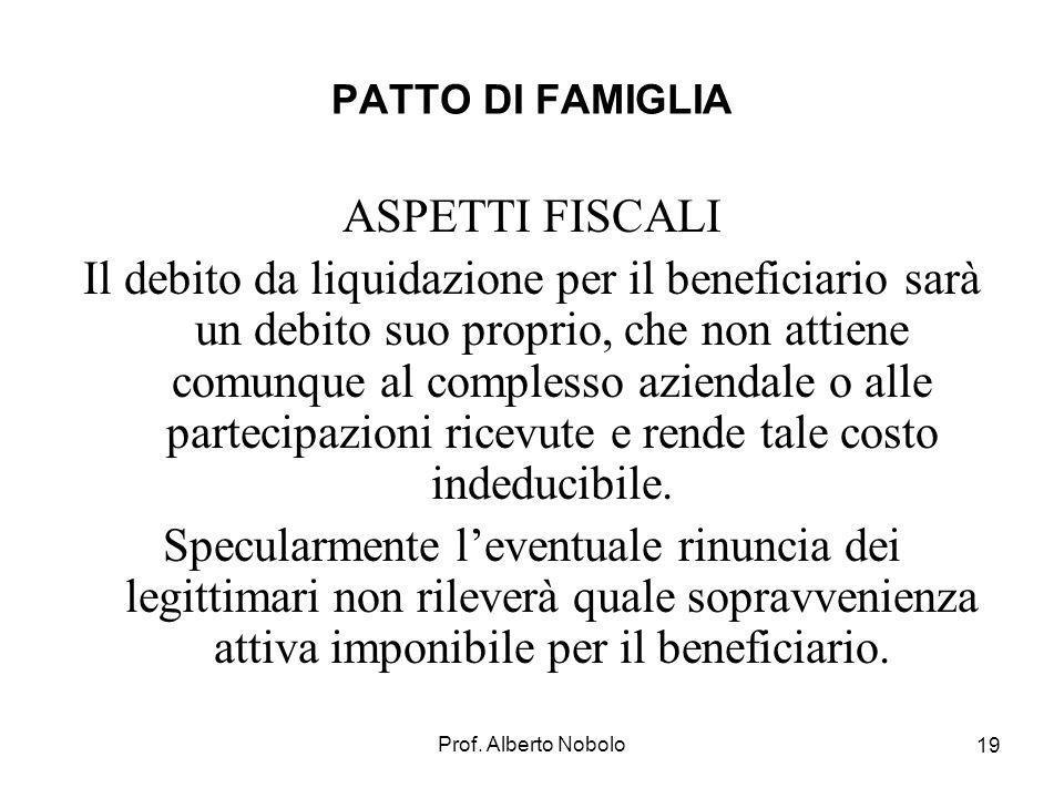 PATTO DI FAMIGLIA ASPETTI FISCALI.