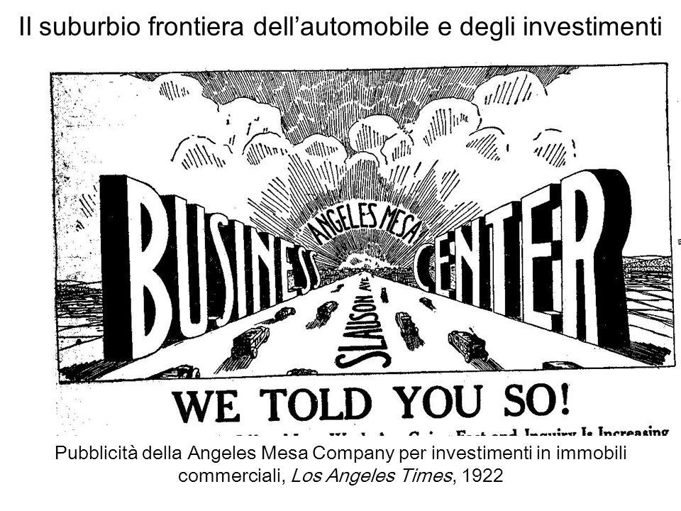 Il suburbio frontiera dell'automobile e degli investimenti