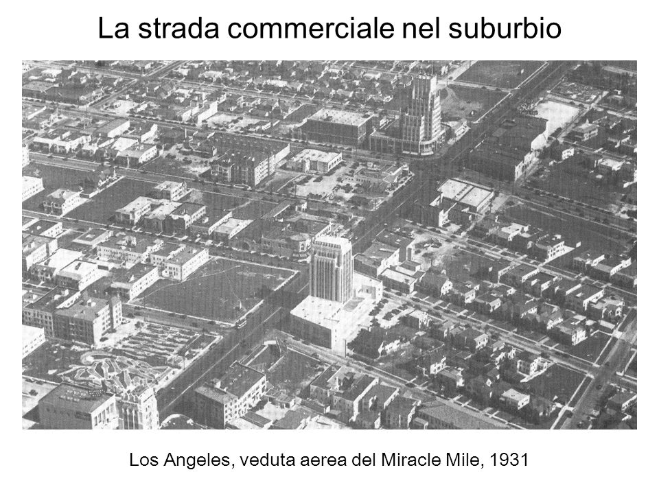La strada commerciale nel suburbio