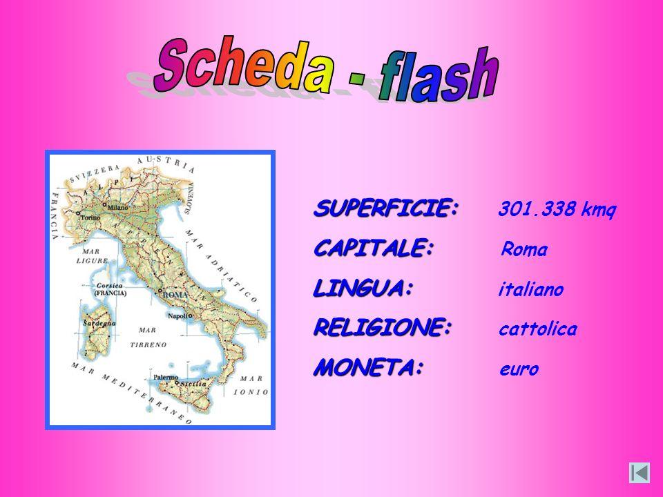 Scheda - flash SUPERFICIE: 301.338 kmq CAPITALE: Roma LINGUA: italiano