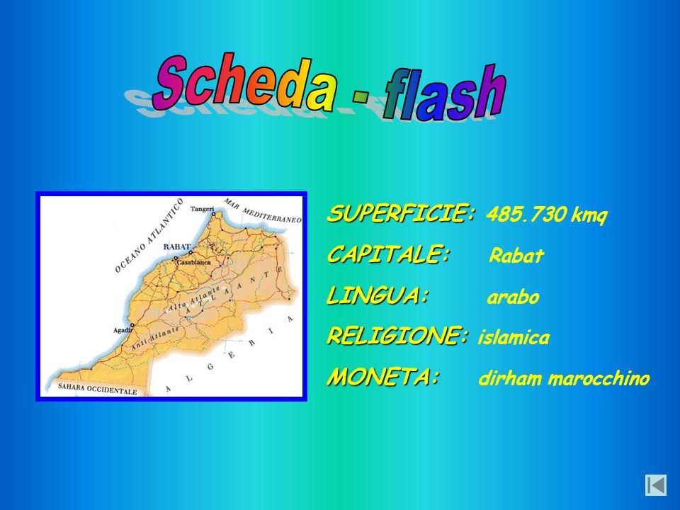 Scheda - flash SUPERFICIE: 485.730 kmq CAPITALE: Rabat LINGUA: arabo