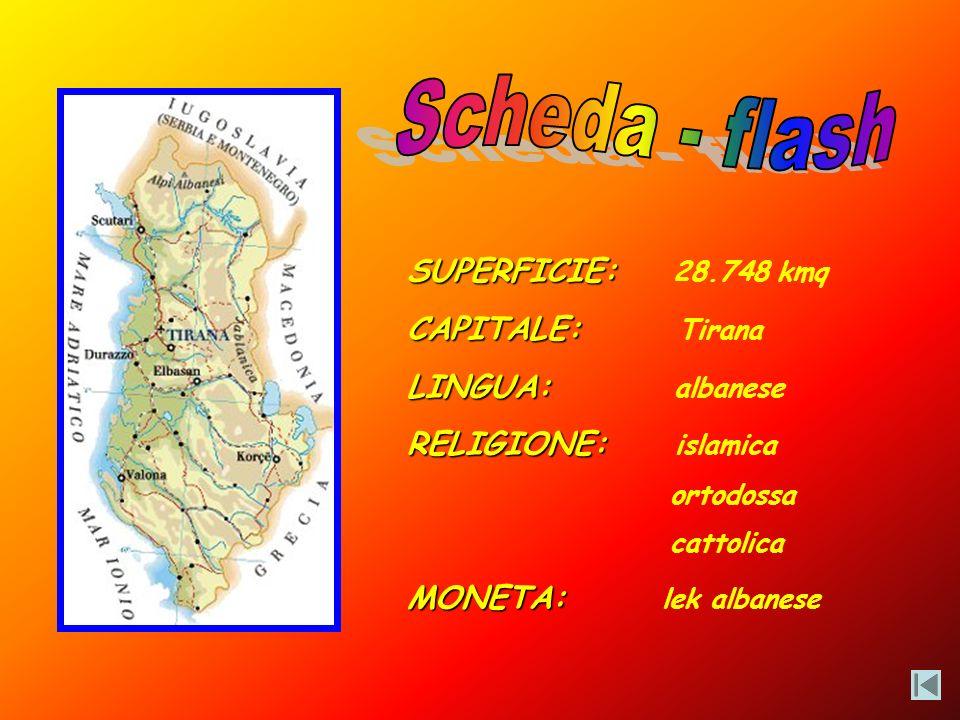 Scheda - flash SUPERFICIE: 28.748 kmq CAPITALE: Tirana